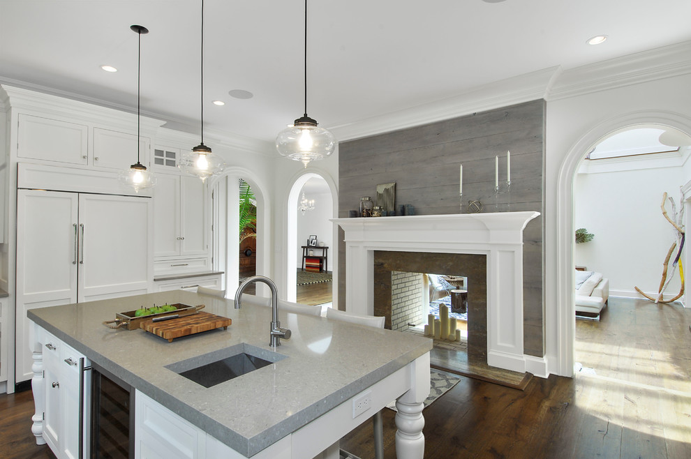 Wca Waste Corporation for Mediterranean Kitchen with Fireplace