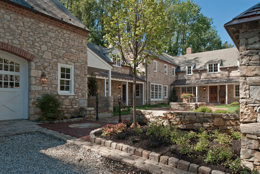 West Chester Lawn and Garden for Farmhouse Exterior with Brick Chimney