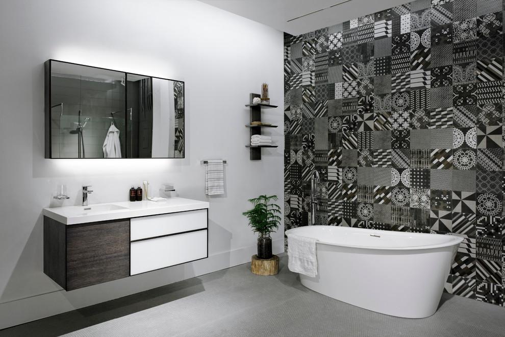 Wetstyle for Contemporary Bathroom with Dark Wood Bathroom Vanity