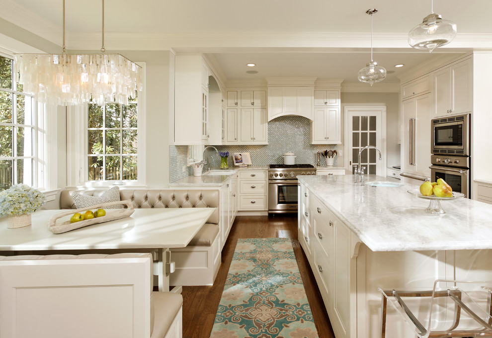White Princess Quartzite for Traditional Kitchen with Breakfast Nook
