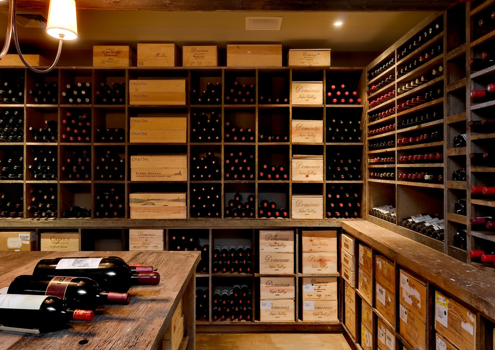 Wine Cellar Los Gatos for Traditional Wine Cellar with Distressed Wood Beams