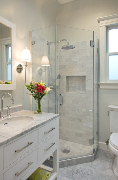 7x9 for Transitional Bathroom with Glass Shower Stall