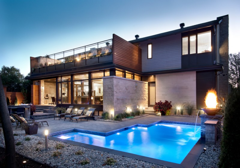 Abloom for Contemporary Pool with Fire Feature