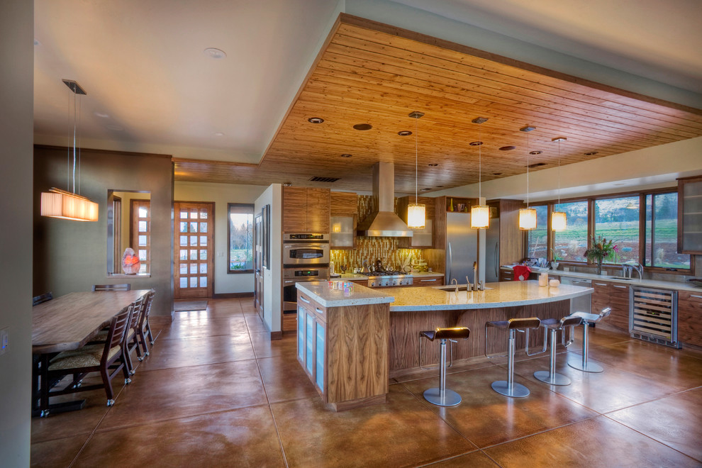 Acid Stained Concrete for Contemporary Kitchen with Accent Ceiling