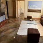 Acid Wash Concrete for Contemporary Family Room with Concrete Floor