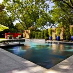 Acid Wash Concrete for Contemporary Pool with Swimming Pool