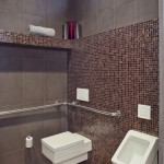 Ada Grab Bar Height for Contemporary Powder Room with Grey
