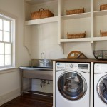 Ada Sink Height for Traditional Laundry Room with Wicker Basket Storage