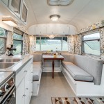 Airstream Renovation for Midcentury Dining Room with Mobile Home