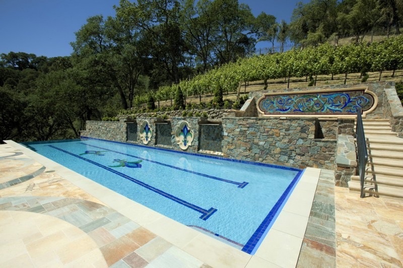 Alamo Glass for Mediterranean Pool with Napa Valley Cast Stone