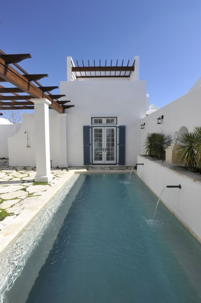 Alys Beach for Mediterranean Pool with Blue Shutters