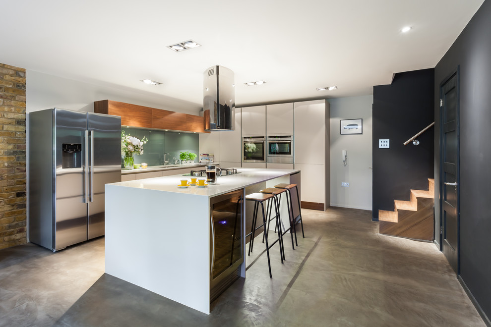 American Chillers for Contemporary Kitchen with Industrial Stool