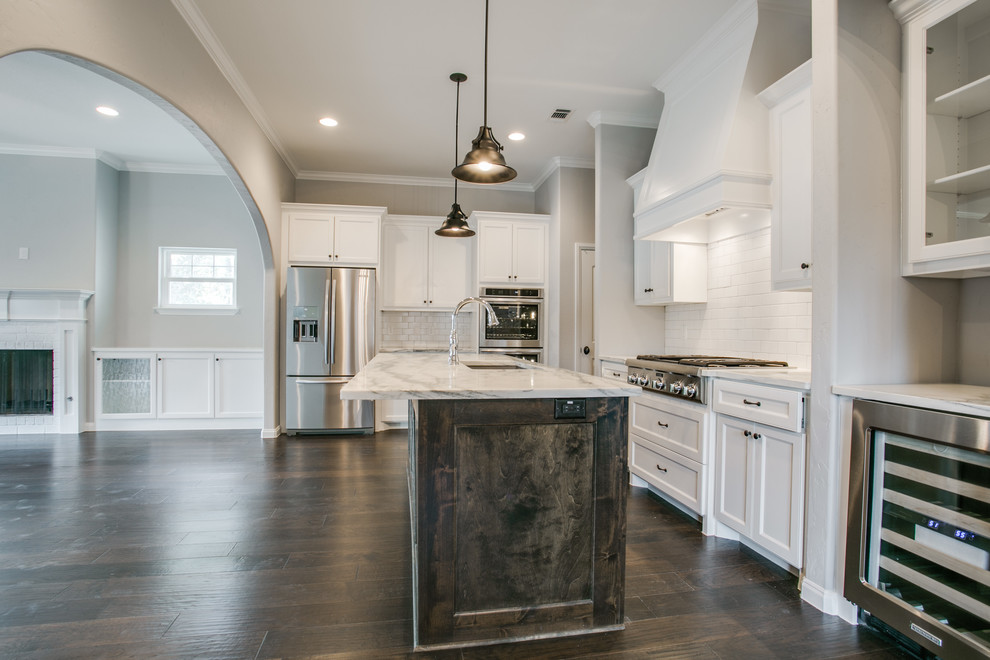 American Chillers for Contemporary Kitchen with White Crown Molding