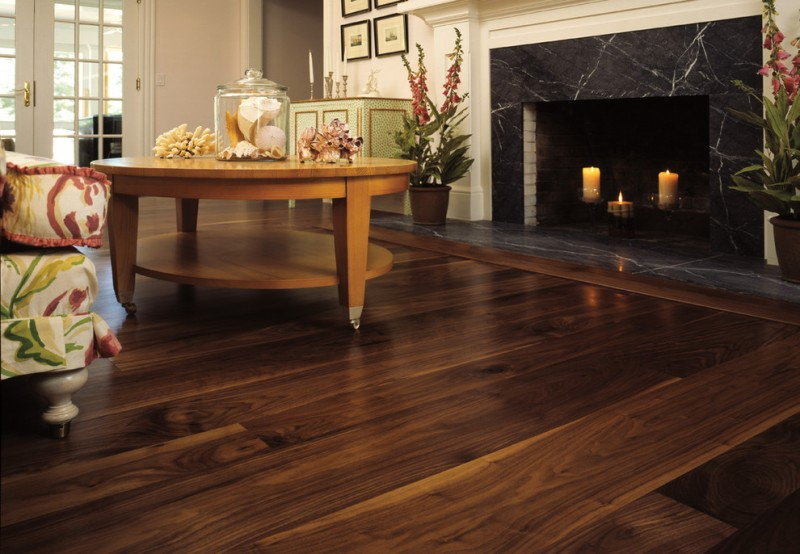 American Heritage Billiards for Traditional Living Room with Walnut Flooring