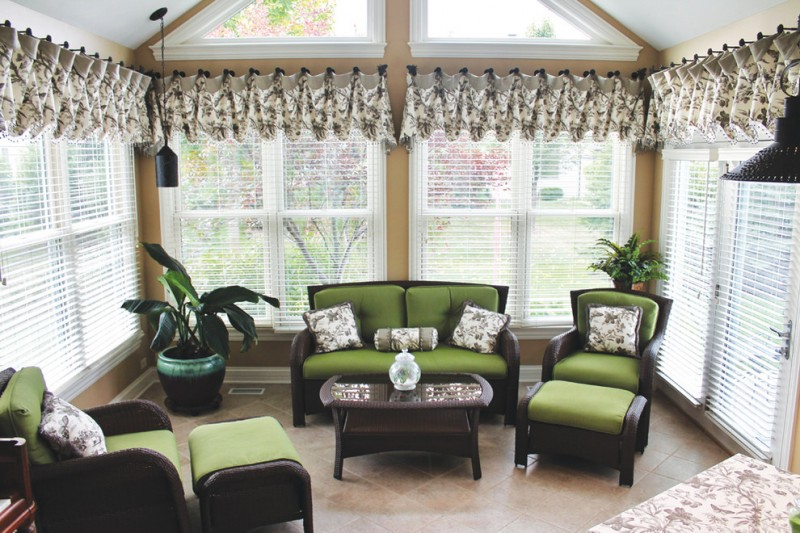 Antique Drapery Rod for Traditional Sunroom with Finials