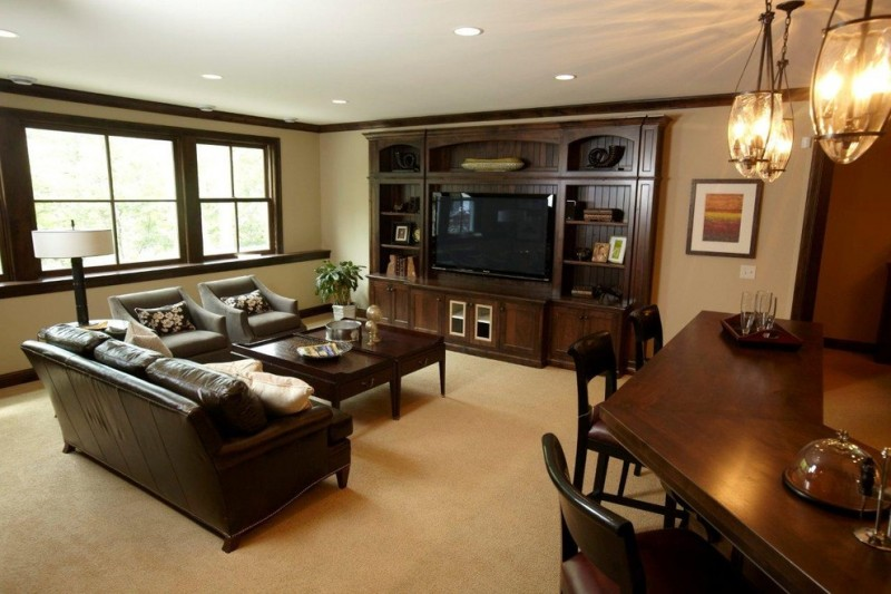 Aragon Entertainment Center for Traditional Family Room with Wood Trim