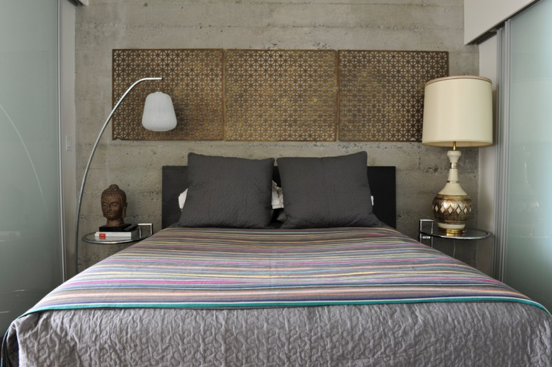 Architectural Grille for Eclectic Bedroom with Bed