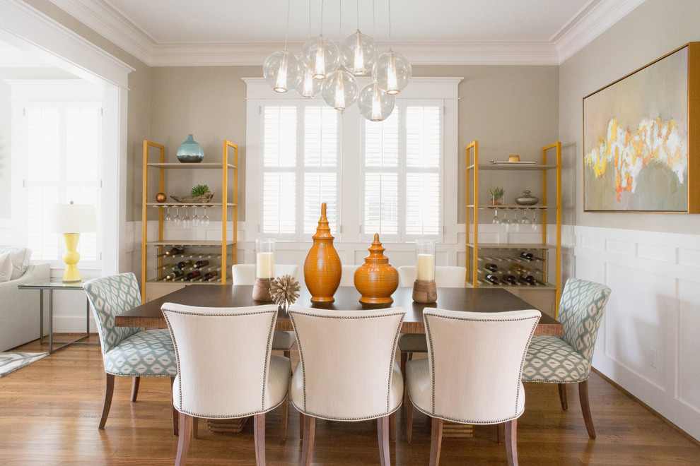 Architrave for Transitional Dining Room with Wine Rack