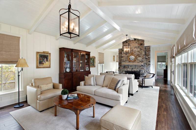 Asbestos Popcorn Ceiling for Traditional Living Room with French Windows