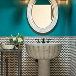Ashley Furniture Albuquerque for Southwestern Powder Room with Oval Wall Mirror
