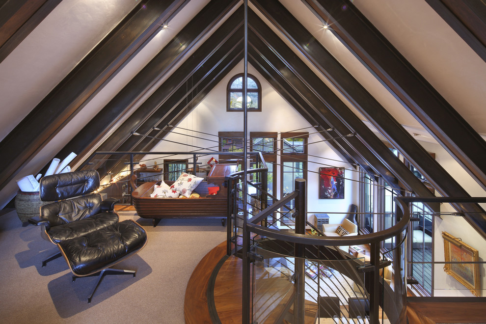 Attic Truss for Contemporary Family Room with Spiral Staircase