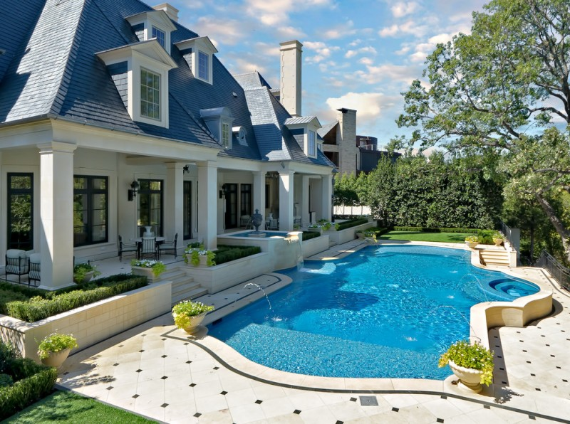 Axia Home Loans for Traditional Pool with Limestone