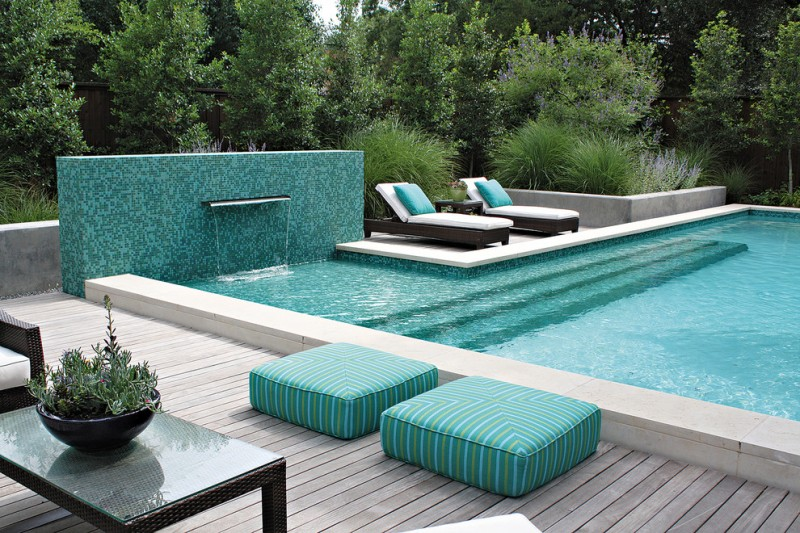 Azure Dallas for Contemporary Pool with Planters