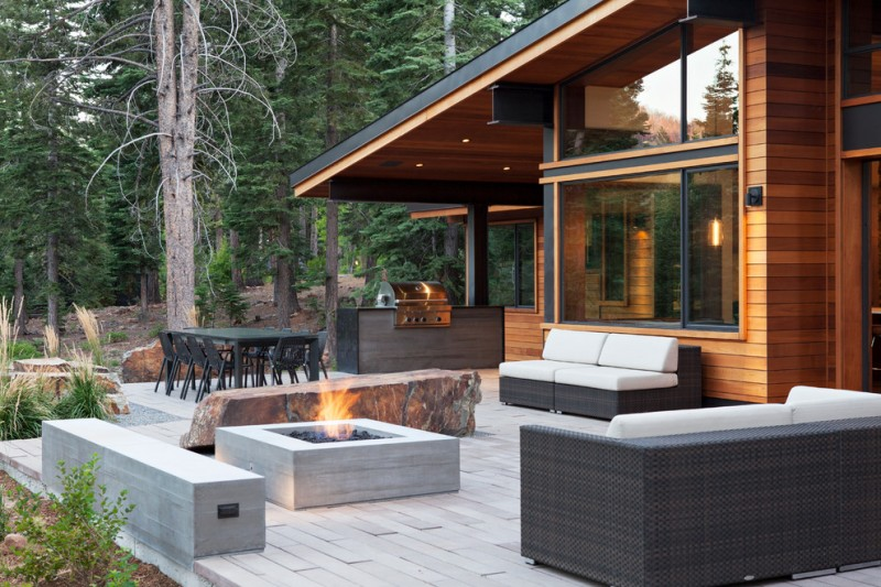 Backyard Bbq Pit for Contemporary Patio with Outdoor Living Space
