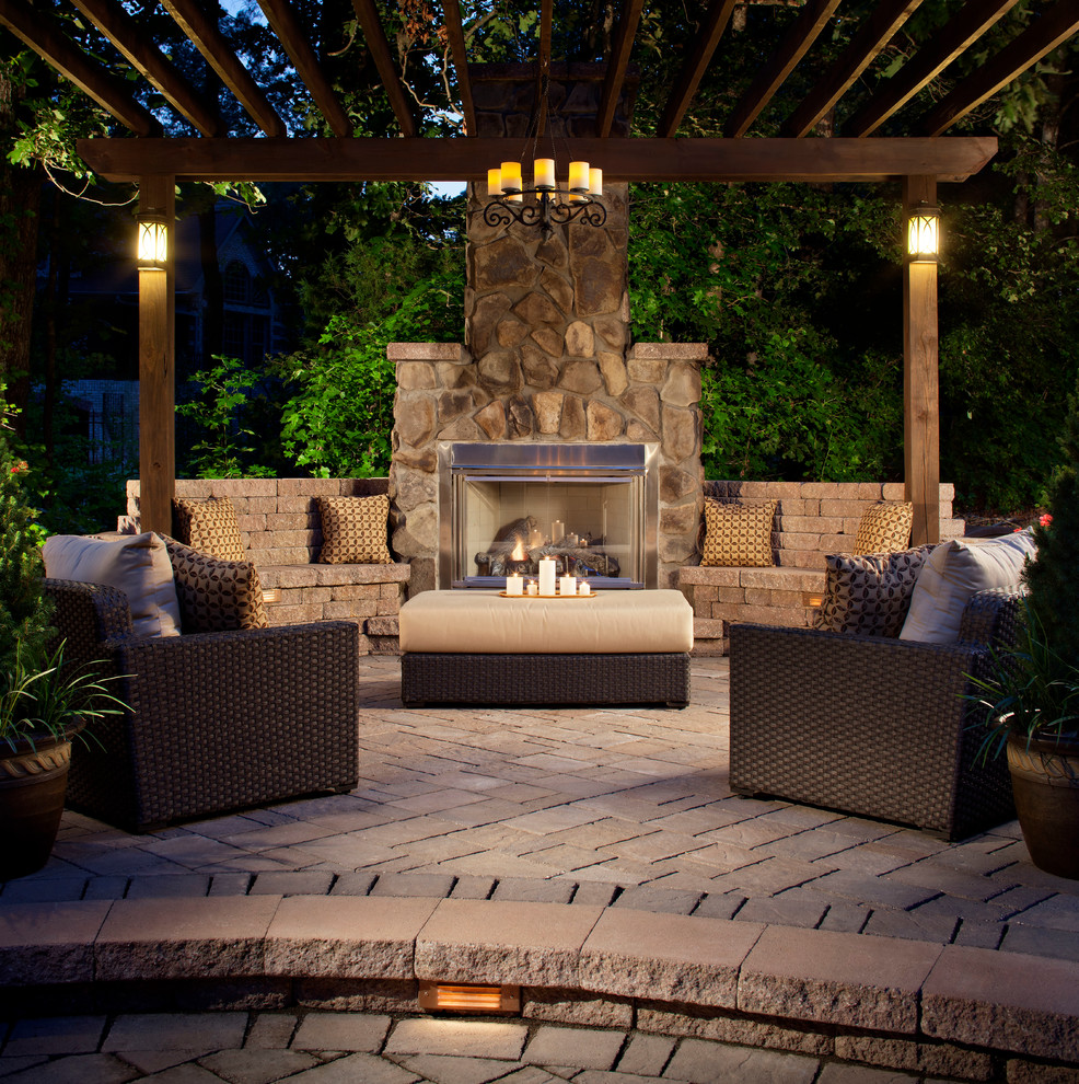 Bare Bones Furniture for Traditional Patio with Upholstered Ottoman