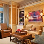Barrington Theater for Traditional Family Room with Brown Leather