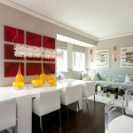 Barstool Chicago for Contemporary Dining Room with Dark Wood Floor