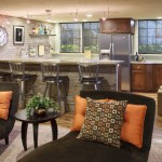 Barstool Chicago for Contemporary Kitchen with Accent Wall