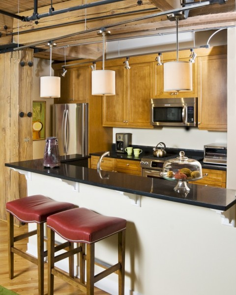 Barstool Chicago for Eclectic Kitchen with Stainless Steel Appliances