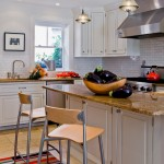 Barstool Chicago for Transitional Kitchen with Tom Dixon Pendants
