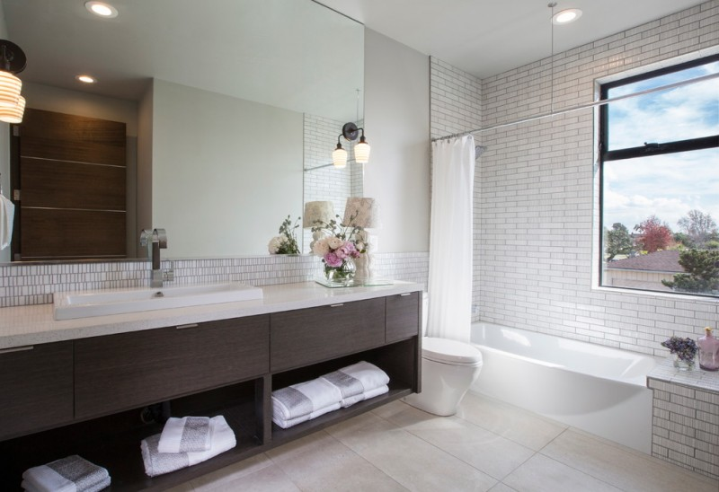 Beaver Tile for Contemporary Bathroom with White Countertop