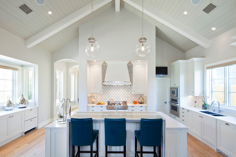 Beaver Tile for Transitional Kitchen with White Kitchen