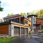 Bell Tower Hotel Ann Arbor for Contemporary Exterior with Dark Wood Garage Doors