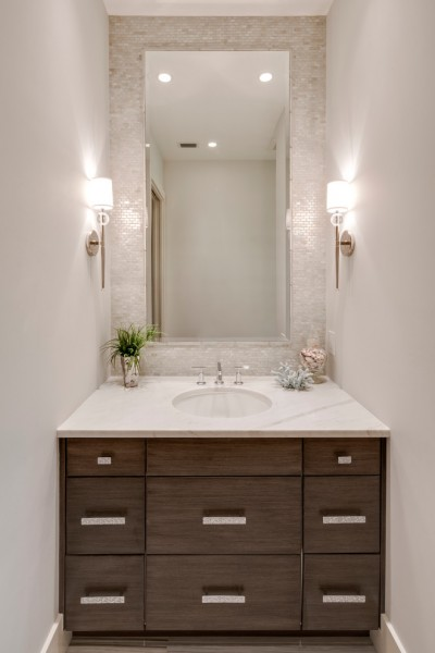Bella Vita Custom Homes for Transitional Powder Room with Walk in Shower
