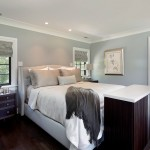 Benjamin Moore Beach Glass for Contemporary Bedroom with Wingback Headboard