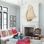 Benjamin Moore Beach Glass for Tropical Living Room with Wood Floor