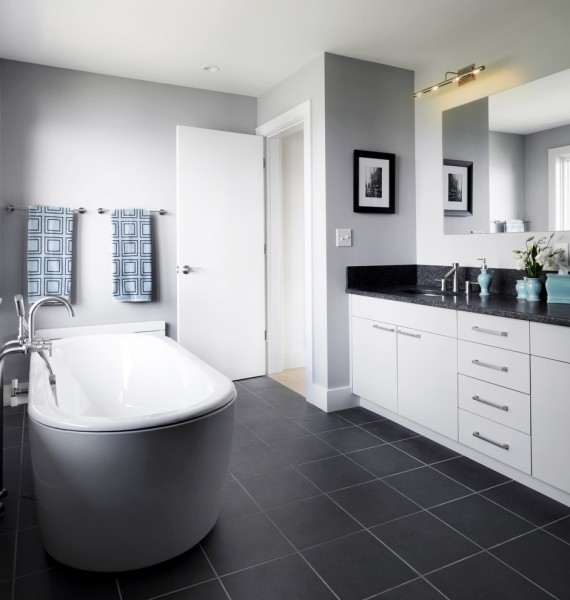 Benjamin Moore Coventry Gray for Contemporary Bathroom with Oval Bath