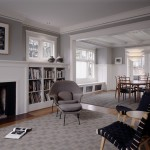 Benjamin Moore Dove White for Traditional Living Room with Leaded Glass