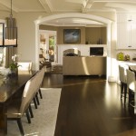 Benjamin Moore Grant Beige for Traditional Kitchen with Upholstered Dining Chairs
