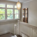 Benjamin Moore Grant Beige for Traditional Staircase with White Walls