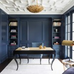 Benjamin Moore Hale Navy for Transitional Home Office with Pendant Light