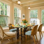 Benjamin Moore Manchester Tan for Traditional Dining Room with Mcguire Glass Top Table