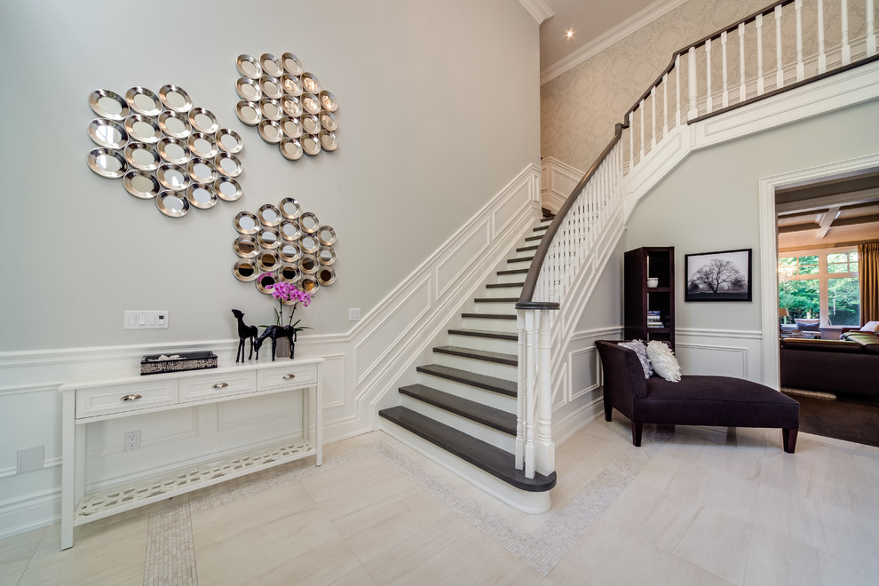 Benjamin Moore Moonshine for Contemporary Staircase with Border in Tile