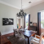Benjamin Moore Moonshine for Eclectic Dining Room with Black Chandelier