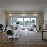 Benjamin Moore Muslin for Contemporary Living Room with Wood Flooring