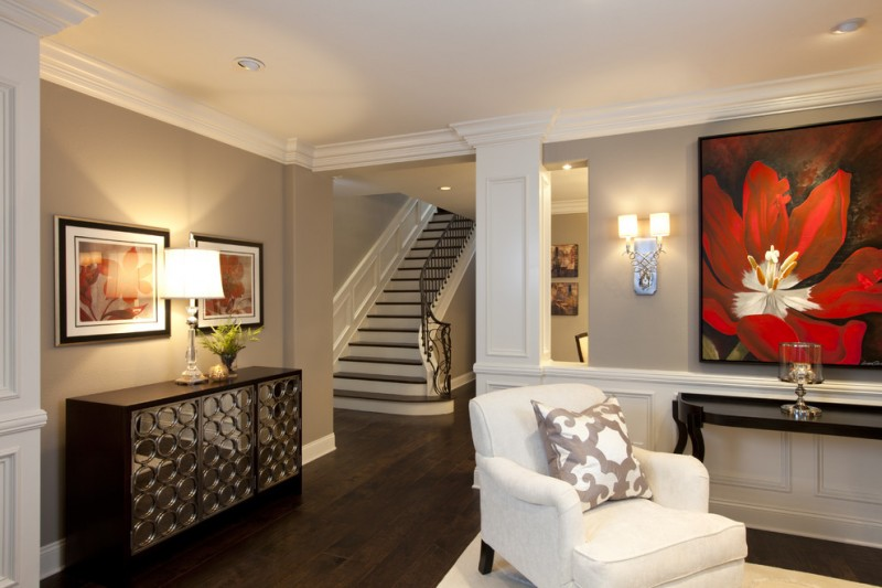 Benjamin Moore Pashmina for Traditional Entry with Decorative Pillows